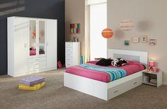 Chambre adulte complète, nouveauté Lematelas : chambre complète adulte en bois blanc et gris avec lit 160x200 (avec tiroir de lit), chevet, chiffonnier et armoire #DécoChambre #ChambreAdulte #InspirationChambre