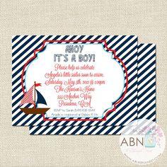 Invitación de la ducha de bebé náutica  vista por ABlissfulNestShop