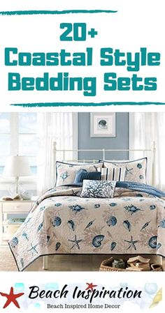 20 Coastal Bedding Sets For Beach Themed Bedroom Coastal Bedding Sets For Beach Themed Bedroom. Check out these beautiful beach bedding sets perfect for bringing a little ocean inside your home. Beach Bedding Sets, Coastal Bedding, Coastal Bedrooms, Comforter Sets, Beach Living Room, Bedroom Beach, Diy Bedroom, Bedroom Themes, Bedroom Colors