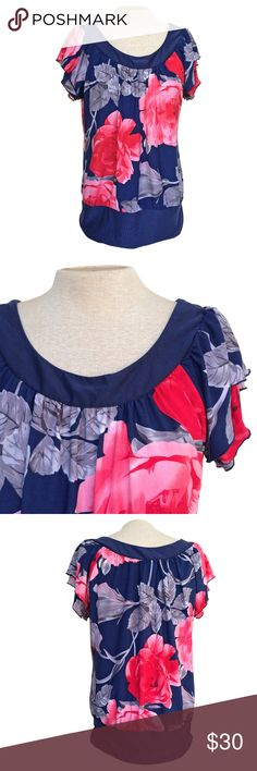 ceeeff9680a3c Majora Navy Blue Pink Roses Floral Ruffle Blouse L Great pre-owned  condition! Size