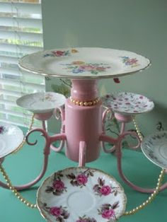 Old chandelier turned dessert tray. So cute!! This might even be a good idea for my Christmas Tea Table!!