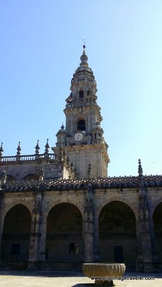 Clock Tower as seen from the center of the Cloister, Cathedral of Santiago de Compostela, Spain.