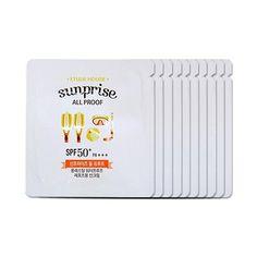 Sun cream yang waterproof SPF50+ PA+++, digunakan saat olahraga dan aktifitas di luar ruangan, diperkaya dengan vitamin D. Diformulasikan dengan Acai Berry, Acerola, Aloe vera untuk menghaluskan kulit.  Dapat digunakan untuk wajah dan tangan.  5.500 untuk 1 sachet Etude House Sunprise All Proof Sample