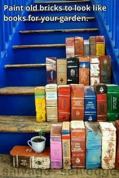 Old bricks painted like books