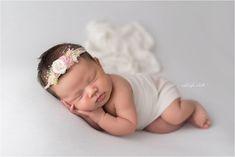 Studio newborn girl simple neutral natural white Ashleigh Whitt Photography - Avon Ohio Newborn Baby Photographer