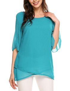 966059f4988 ELESOL Women s Loose Casual Ruffle Half Sleeve Chiffon Top T-Shirt Blouse  at Amazon Women s Clothing store