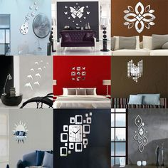Fashion Silver Mirror Style Removable Decal Vinyl Art Wall Sticker Home Decor | eBay