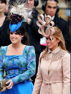 TRH Princess Beatrice & Princess Eugenie, at William & Kate's wedding. Princess Beatrice won the Television audience AWARD for most outragous hat. The hat game became more fun and distracted everyone watching..