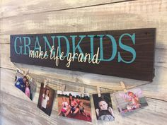 This wall hanging is a great way to display updated photos of your grandkids! Each board is hand painted on hand picked reclaimed wood from the area of New Orleans. No two boards are the same! True Turquoise - Paint color in sample photo.  Colors can be customized, just specify what colors you would like in the notes section at checkout. --the color pictures is True Tourquoise Board size is 5x26 with twine attached and a wire hanger on back. Includes 8 clothes pins.