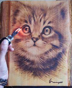 Wood burned Cat - How to wood burn art...