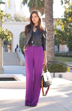 5. Purple Pants With Leather Jacket 2017 Street Style
