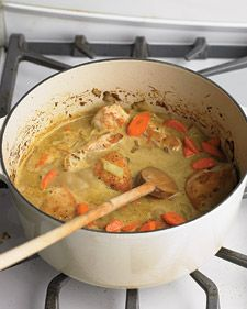 Stewing is a three-step process: Brown the meat, add aromatics, seasonings, and a generous amount of liquid, and then simmer on the top of the stove until the chicken is tender.