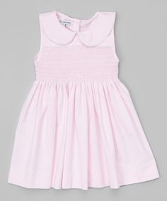 Look at this Sweet Dreams Pink Peter Pan Collar Smocked Dress - Infant, Toddler & Girls on #zulily today!