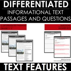 This Nonfiction Text Features-Reading Comprehension Passages & Questions for 3rd, 4th, 5th, 6th grade & homeschool students. This resource is to help your third, fourth, fifth & sixth graders identify, understand & use different text features. As students progress through this, the text & questions increase in complexity. Includes three different levels of each passage & print features, graphic aids, informational aids & organizational aids. #Reading