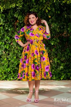 Birdie Dress in Mustard and Purple Floral with Three-Quarter Sleeves - Plus Size