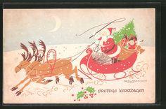 Künstler-AK Willy Schermele: Weihnachtsmann mit seinem Schlitten 0