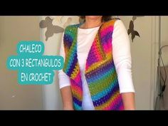 Como hacer un chaleco en crochet facil con 3 rectangulos | Ganchillo facil - YouTube