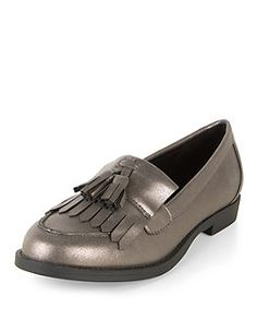 Dark Silver Patent Tassel Front Loafers | New Look