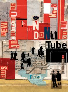 London Transport - Architecture by Michelle Thompson - collage, photography and digital manipulation Art Lessons, Urban Environment, Mixed Media Collage, Art Design, Cityscape, Photomontage, Collage, A Level Art, Text Art