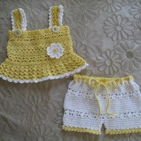 Daisy Tank and Shorts Set, Baby Girl, Crochet Pattern PDF 12-023