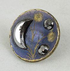 Antique Victorian Button ~ Cut Steel Crescent Moon, Etched Plants on Blue