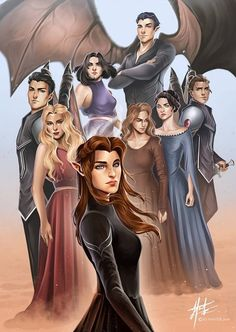 The Night Court illustration based on the book characters from ACOTAR by Sarah J Maas The Night Court A Court Of Wings And Ruin, A Court Of Mist And Fury, Book Characters, Fantasy Characters, Fanart, Queen Of Shadows, Fantasy Magic, Fantasy Books, Feyre And Rhysand