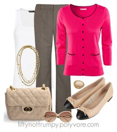 """""""Ballet Flats"""" by fiftynotfrumpy ❤ liked on Polyvore featuring MANGO, Viyella, H&M, Topshop, J.Crew, Lisa Stewart, Witchery, statement rings, quilted bags and gold necklaces"""