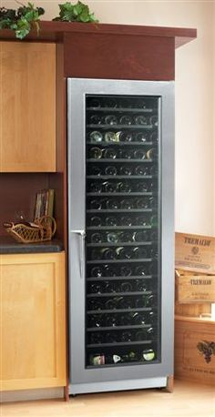 "The CAV SS 242673 - The Stainless Steel Cavavin Wine Cabinet. Climate controlled wine cabinet. Dimensions: 24"" W x 25 3/4"" D x 72 1/2""H. Door(s) Available: 1 (Solid or glass). Bottle Capacity: 171."
