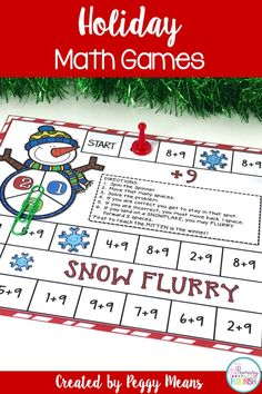 Seven Christmas holiday math games (winter-themed) to entertain and educate your students. This product includes CCSS Standards for each game, Teacher Tips, game directions, colorful game boards and playing cards. Students can play in centers, groups, or partners.