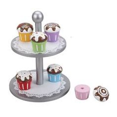 Wooden Cake Stand, Six Cupcakes With Interchangeable Toppings Wooden Cake Stands, Non Toxic Paint, Blue Leaves, Pretend Play, Cool Toys, Wooden Toys, Cool Stuff, Stuff To Buy, Cupcakes