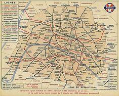 Plan de 1939 : l'évolution du plan du métro parisien continue, avec l'apparition de la ligne 11 (construite en 1935).
