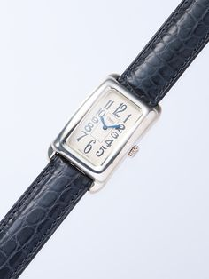Rectangle silver watch on alligator