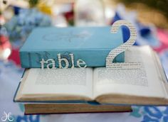 Book as centerpiece with table marker
