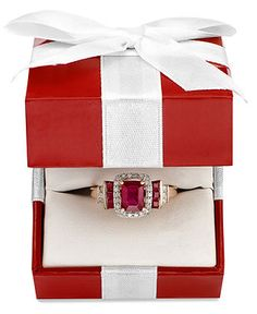 14k Rose Gold Ring, Emerald-Cut Ruby (1-5/8 ct. t.w.) and Diamond (1/5 ct. t.w.) Ring - Jewelry & Watches - Macy's