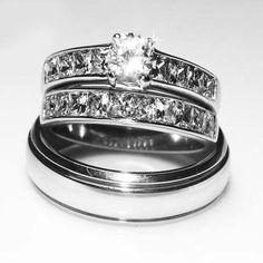 His Hers 3 pcs Elegant Stainless Steel Wedding Bridal R. Starting at $10