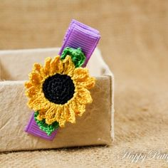 Crochet Sunflower Hair Clip by Happy Patty Crochet