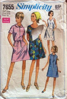 1960s shift dress Simplicity 7655 vintage sewing pattern Bust 39 Waist 32 Hip 41 Retro 60s Mad Men preppy mod style A-line easy to sew style by 101VintagePatterns on Etsy