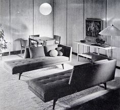 "Tumblr American Furniture Design | Edward Wormley (1907-1995)  ""I wanted to make furniture that would agree with other people's furniture, or with antiques, or that other designers or decorators would put together and mix in their own ways. Not in the way that I said it had to be. Not two Mies chairs with a Mies coffee table in front of them."":"