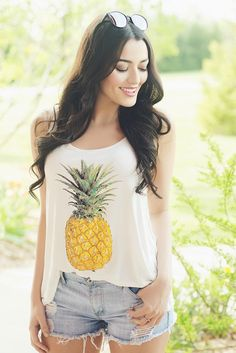 Pineapple tank top. For our pineapple loving girls! Runs true to size. 95% rayon 5% spandex