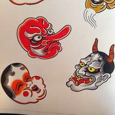 Japanese masks by Thomas Pineiro