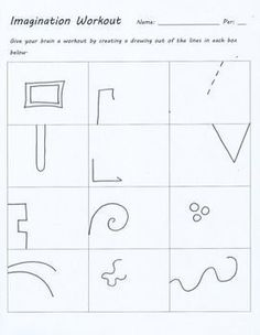 Imagination workout creativity test drawing sub art lesson plan doodle worksheet teacherspayteachers com art sub plan silly sandwich High School Art, Middle School Art, Art Sub Lessons, Art Education Lessons, Art Doodle, Classe D'art, Art Sub Plans, Art Handouts, Art Worksheets