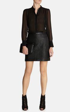 Quilted faux leather skirt | Luxury Women's skirts | Karen Millen