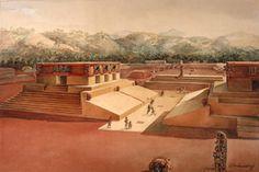 The Ball Court at Copan, Honduras, watercolor, Tatiana Proskouriakoff. Photo by Hillel Burger. PM 50-63-20/18488.