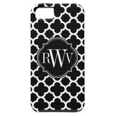 Quatrefoil Black and White Pattern Monogram iPhone 5 Cover