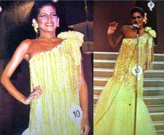Maye Brandt en su Desfile en traje de Gala durante la Noche Final del Miss Venezuela 1980..