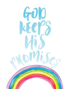 The rainbow is a constant reminder to us that God keeps ALL of His promises. This print is a reminder of how wonderful, powerful, and faithful our God is. Rainbow Baby Quotes, Rainbow Quote, Rainbow Sayings, Rainbow Bible, Rainbow Wall, Love One Another Quotes, Rainbow Promise, Graduation Quotes, Lamentations
