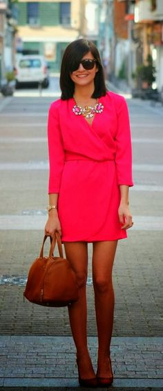 see more Charming Pink Mini Dress with Brown Fashionable Handbag and High-Heeled Shoes