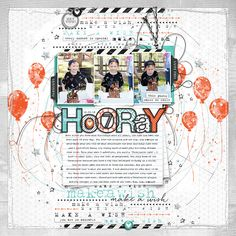 SSL / Hooray awesome bot birthday scrapbook page layout #designerdigitals #scrapbooking #digitalscrapbooking #memory #birthdayparty