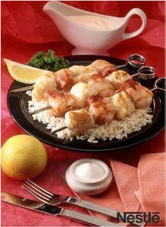 Brocheta de rape y gambas con arroz en el blog Cucharita de palo #recetas #nestlebloggers