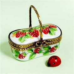 Limoges Strawberry Basket with Ladybug Box The Cottage Shop